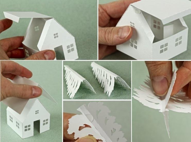 Поделки к новому году из бумаги домик